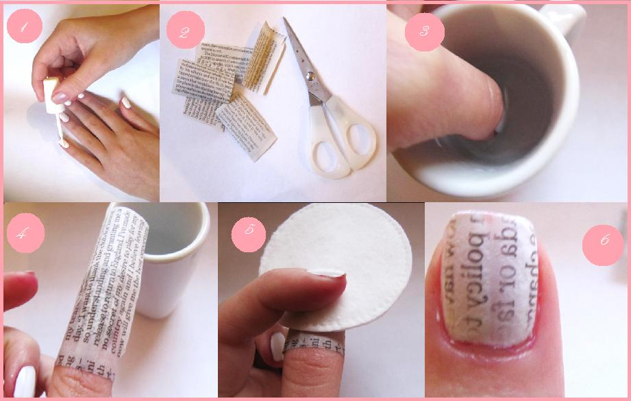 Newspaper Nail Art Design Tutorial for Christmas holidays (2)