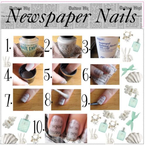 Newspaper Nail Art Design Tutorial for Christmas holidays (3)