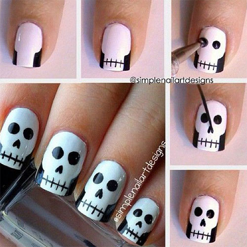 Scary-Halloween-Nail-Art Designs with Tutorails