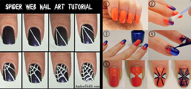 Spriderman Easy Nail art designs