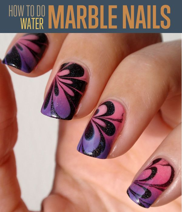 Water Marbling Nail-Art designs tutorial with steps for Christmas holidays  (4)