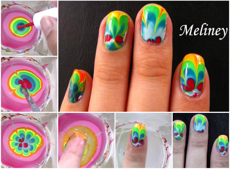 Water Marbling Nail-Art designs tutorial with steps for Christmas holidays  (7)