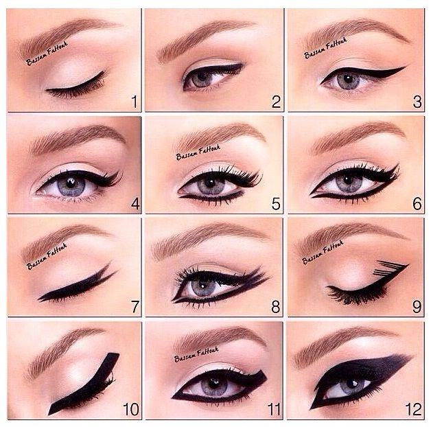 applying eyeliner to eyes in different styles