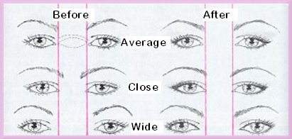 space between eyebrows