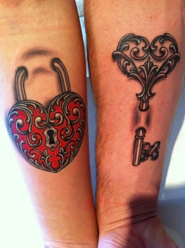 Heart & Key Matching Tattoo Ideas