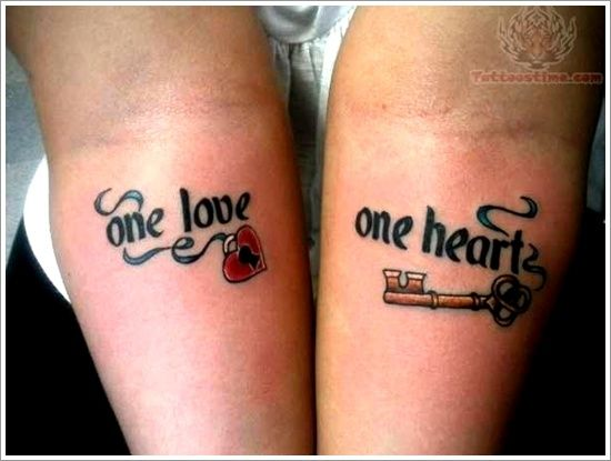 Word and letters Couple tattoos 2