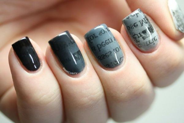 Newspaper Nail Art designs & Tutorials (9)