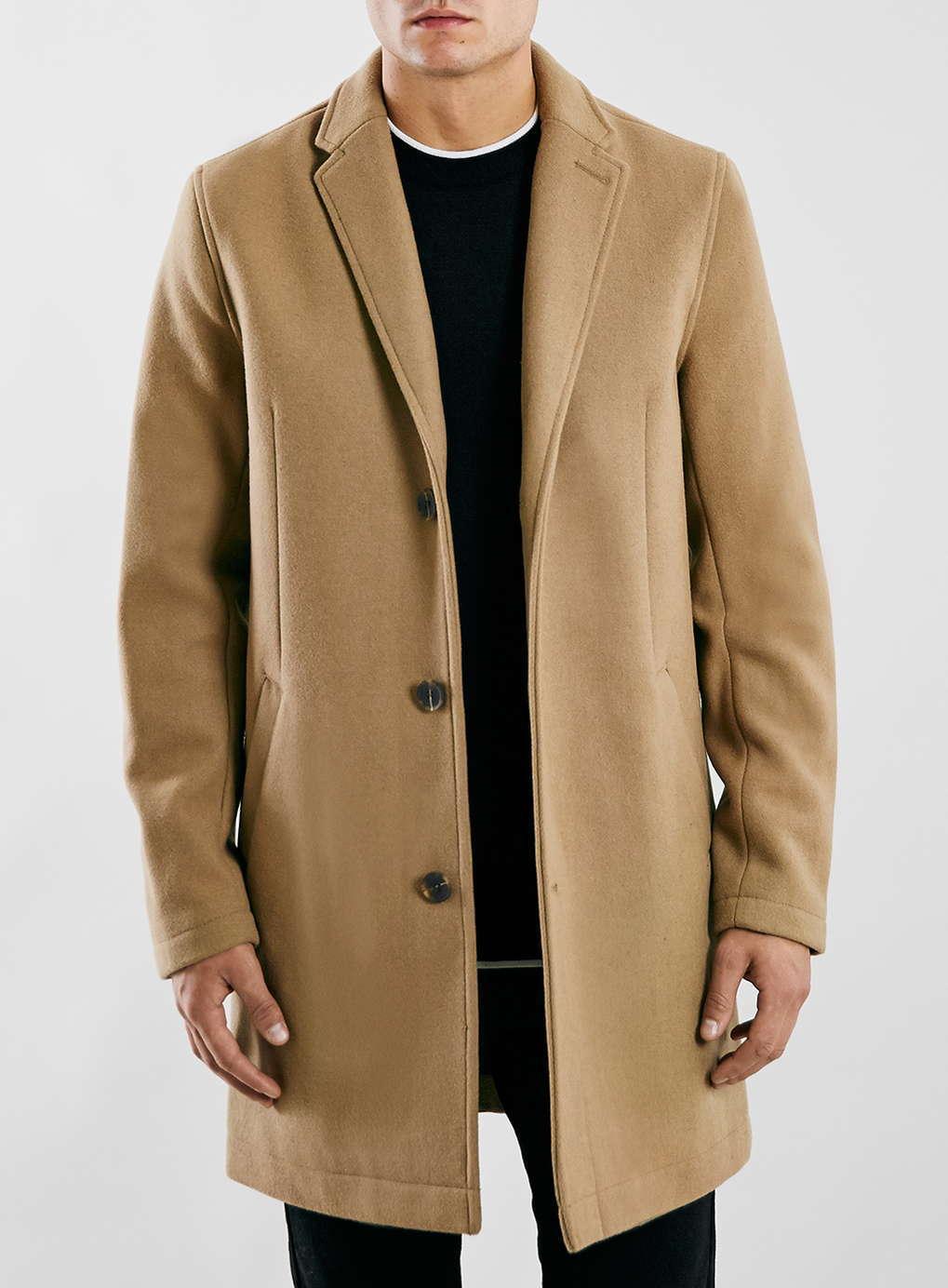 Camel Wool Blend Overcoat-topman