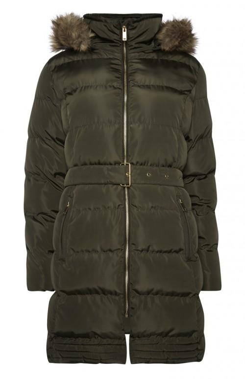 khaki Fauc Fur Hood Puffer Jacket-primark