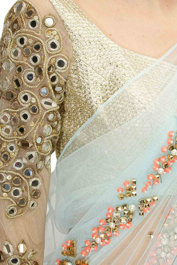 Mirror Work Embroidered Sarees (1)