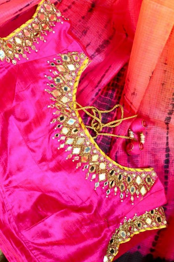 Mirror Work Embroidered Sarees (3)