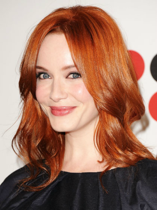 Christina-Hendricks-Medium-Length-Hair-face framing