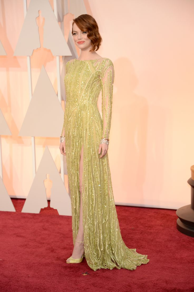 Emma Stone in an Elie Saab Haute Couture dress and Tiffany Blue Book Collection jewelry