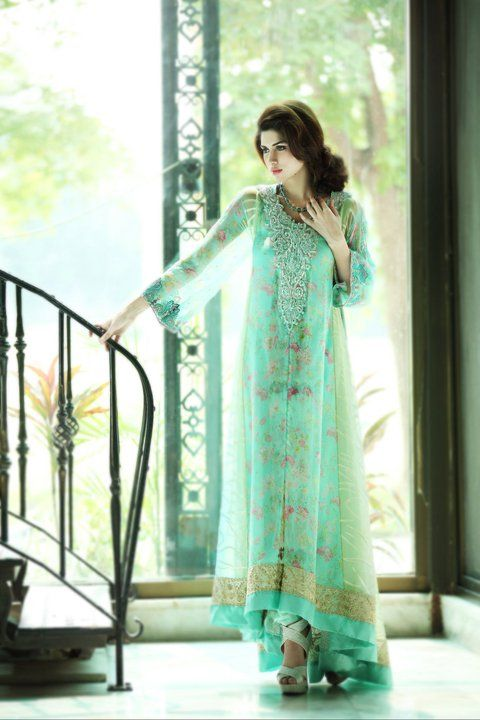 Party Wear Light water green color open front open double shirt dress