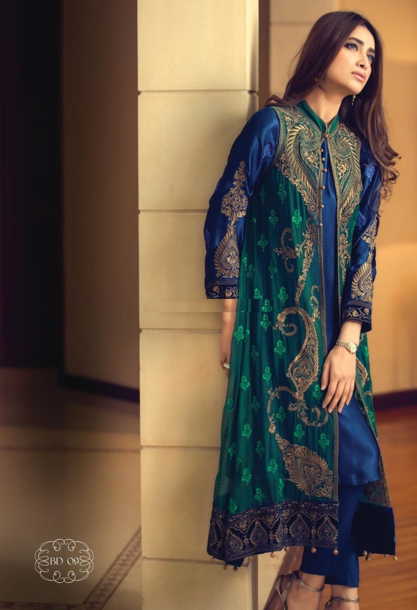 Routine Wear- blue and green open front open double shirt frock