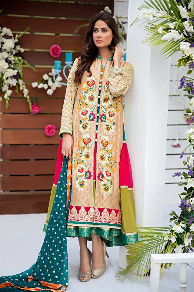 Latest Fancy Embroidered Frocks Gowns 2019 by Zainab Hasan
