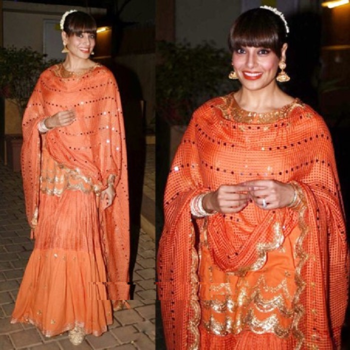 bipasha-basu-in-sukriti-aakriti-orange-sharara-dress