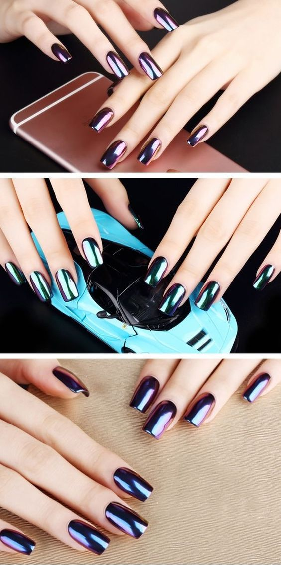 Beautiful Metallic Chrome Nail Art Designs & Tutorial (1)