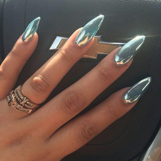Beautiful Metallic Chrome Nail Art Designs & Tutorial (9)
