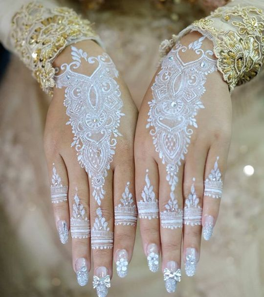 Latest Bridal White Henna Designs Tattoo Trends