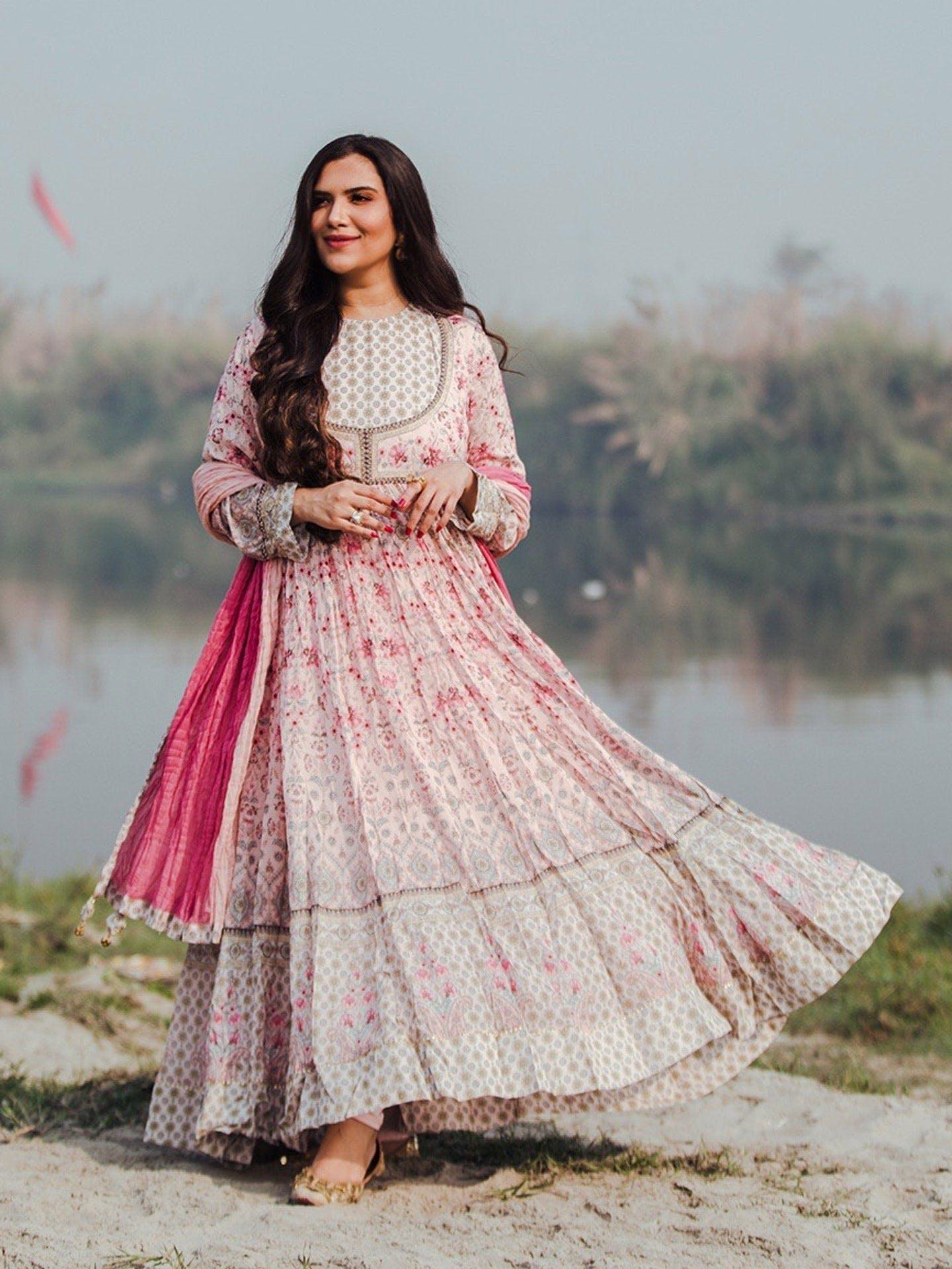 latest Indian jacket style dresses.